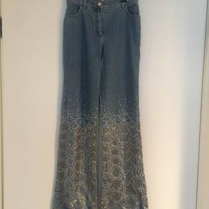Escalating beaded jeans vintage 1990's sequence